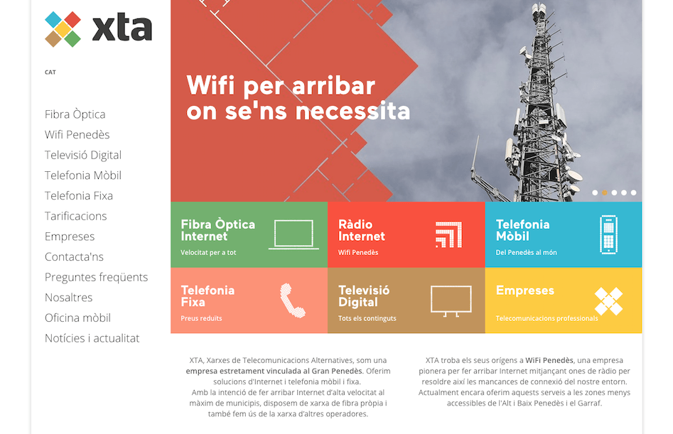 Nova web d'XTA per contractar serveis de Telefonia i Internet al Penedès i Garraf